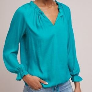 NWT Anthropologie Turquoise French Quarter Blouse
